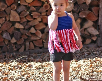 Boho Fringe Toddler Crop Top • Memorial Day Outfit • 4th of July Crop • Infant Crop Top • Halter Top • Toddler Festival Top • Beach Outfit •