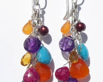 Multi Gemstone Earrings, Gemstone Dangle Earrings, Carnelian Gemstone Earrings, Amethyst Gemstone Earrings, Wire-wrapped Earrings