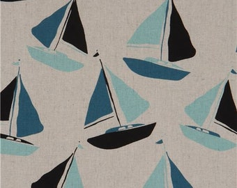 216155 natural color sailboat Linen Cotton fabric Andover USA Tidal Wave