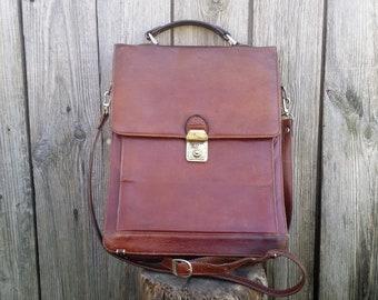 Mens leather messenger bag , Leather tote bag, Leather bag, Shoulder bag, Leather satchel bag, Vintage leather bag, Brown leather bag.