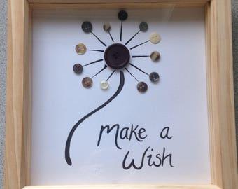 Dandelion art - Make a wish - dandelion - button art