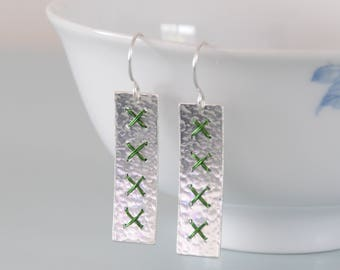 Long Green Cross Stitch Earrings - Wire Wrapped Rectangle Metalwork Hammered Sterling Silver Dangle Earring for Her by Emma Dickie Design