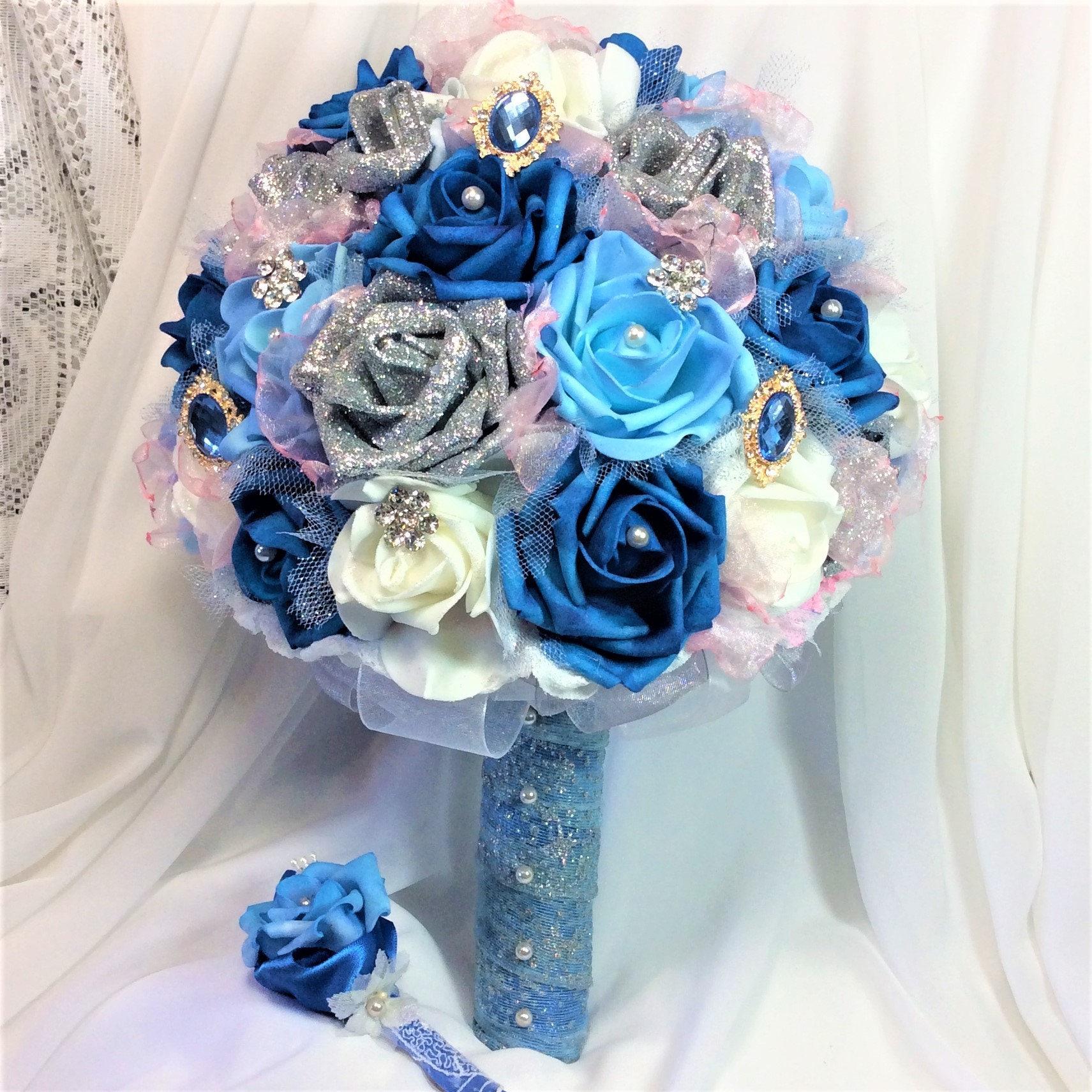 Cinderella Wedding Flower Bouquet-Blue Wedding-Brooch