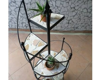 Wrought iron planter mod. Spiral staircase 8 marble shelves palladiana