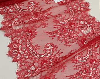 Red lace Trim, Chantilly Lace, French Lace, Wedding Lace, Scalloped lace Eyelash lace Floral Lace Lingerie Lace by the yard L12063