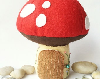 Tooth Fairy Pillow / Tooth Fairy Door / Tooth Fairy House / Tooth Fairy Pouch / Tooth Fairy Bag / Fairy Toadstool - Red