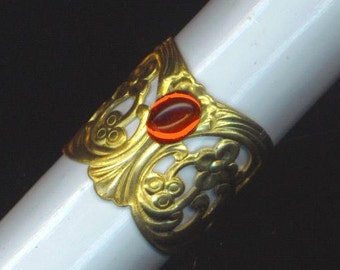 Antique Gold Plated Ring. Filigree Stamping Statement Ring. Adjustable Finger Cuff. Red Oval Stone -Rhinestone Ring by enchantedbeas on Etsy