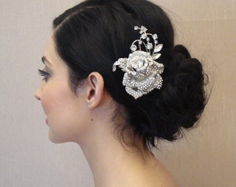 Wedding Rhinestone Flower Hair Comb OR Brooch Pin - Will Ship in 3-5 Business Days