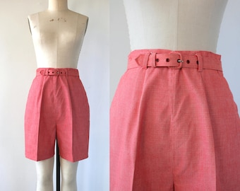 vintage 1950s shorts / 50s belted shorts / 50s bermuda shorts / 50s golf shorts / 1960s shorts / 50s high waisted shorts / 28 inch waist M