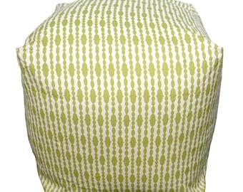 Organic Square Pouf Floor Pillow - Raindrops Split Pea