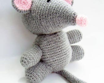 Free Shipping, Large Crochet Mouse,Grey Crochet Mouse,Mouse Toy, Stuffed Mouse Toy, Crochet Toys, ,Crochet Stuffed Animals,Crochet Toy Mouse
