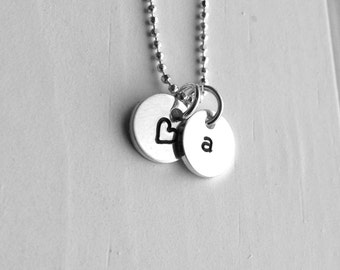 Initial Necklace, Letter a Necklace, Tiny Heart Necklace, Initial  Jewelry, Charm Necklace, Sterling Silver Jewelry, All Letters Available