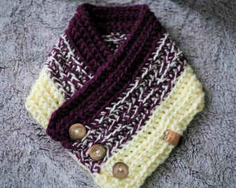 Betty Buttoned Cowl/Scarf/Grape and Cream