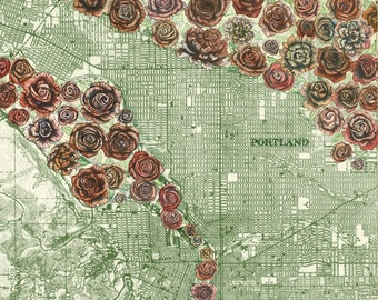 Portland City of Roses painting on vintage map, Portland city art, Oregon painting print, Portland Rose print