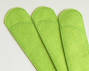 Pen Protector, Chartreuse, Wool Blend Felt Pen Protector Sleeves for Purse and Pocket, Crochet Hook Case