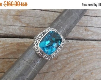 ON SALE London Blue topaz ring handmade in sterling silver 925 with a beautiful London Blue Topaz stone
