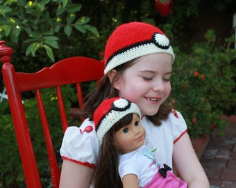 Crochet Doll Hat and crochet hall for girl Pokemon Ball Hat Fits 18 inch doll and six year old girl, Handmade Girl and Doll Matching Hats