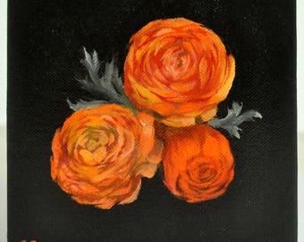 Trio of Ranunculus Original Acrylic Small Painting