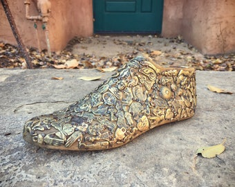 RESERVED for J. / Mexican Milagro Foot Folk Art Amulets on Wooden Shoe Form Miracle Milagro Art
