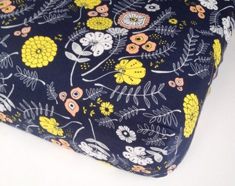 Floral Crib Bedding - Fitted Crib Sheets / Mini Crib Bedding / Girls Crib Sheets / Navy Yellow Coral /Changing Pad Covers/ Baby Bedding