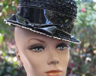 Vintage Ladies' Black & White Straw Hat with Black Vinyl Band and Bow