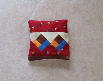 Quilted Patchwork Real Lavender Filled Sachet Red Blue Yellow Brown Handmade