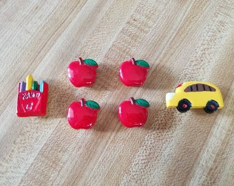 Vintage Lot of 6 Back to School Button Covers 1980s Ladies Accessory Apples Crayons School Bus Teacher Kindergarten Preschool