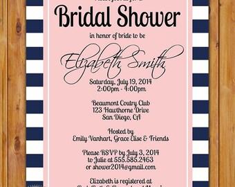 Elegant Navy and White with Blush Bridal Shower Bachelorette Invite Stripes Printable Invitation Navy White Striped Printable Invite (297)