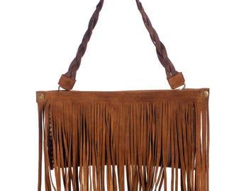 Leather Clutch, Brown Clutch, Clutch , Women's Leather Bag ,Boho Bag, Boho Leather Bag, Evening Bag, Bohemian Bag, Fringe Leather Bag