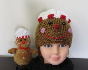Hat. Gingerbread. Gingerbread Hat. Gingerbread Girl. Cookie Hat. Crocheted Gingerbread hat. Gingerbread toy. Gingerbread Cap. Girl's Hat.