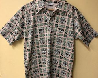 Lilly Dache', Men's Button V-Neck Shirt 1960's-70's VIntage