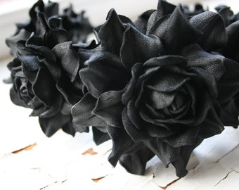 Black leather rose headband - Made to Order