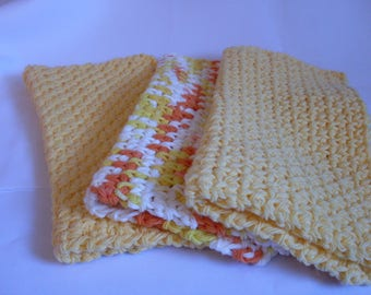 Crocheted Dish Cloths, Dish Cloths, Cotton Dishcloths, Set of 3