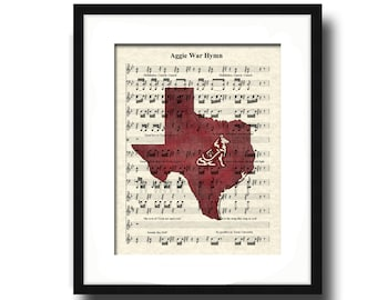 Texas Aggie's War Hymn Sheet Music Art Print Featuring Mascot Reveille, Texas A & M Art Print, Aggie Hullabaloo Fight Song Art