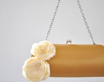 Vintage Gold and Ivory - Bridal Clutch - Bridesmaid Clutch - Wedding clutch - Large clutch