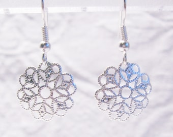 Small Round Silver Filigree Pierced or Clip On Earrings