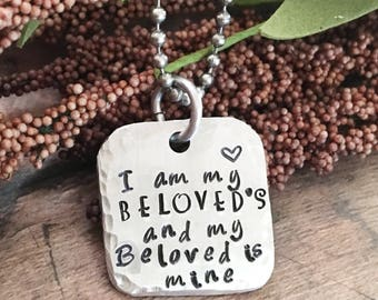 I Am My Beloved's and My Beloved Is Mine Necklace, Beloved Jewelry, Song of Solomon, Bible Verse Necklace, Marriage Necklace, Wedding Gift