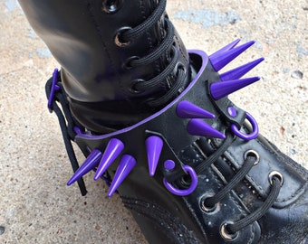 Purple Spiked Leather Boot Strap