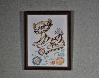 Finished Embroidery Kitschy Cat Butterfly Whimsical Cat Needlework