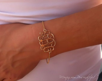 Initial Monogram Bracelet 1.2 inch - Personalized Monogram - 18K Gold Plated - 3 letters typography jewelry