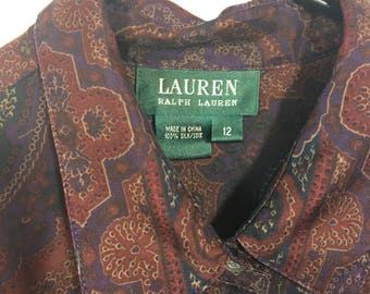 100% Silk Ralph Lauren Printed Button Up