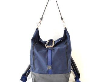 Navy Blue Cordura & Leather Backpack Handmade Holdall Bag.