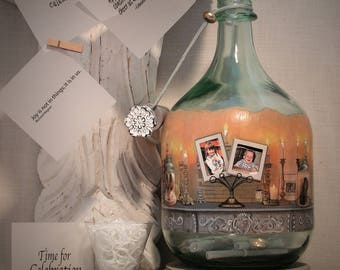 Baby Shower Well Wishes Bottle With Your Photos and Hand Painted Embellishments, Messages In A Bottle For Baby, Photo Gift, Centerpiece
