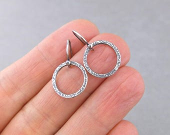 Small Hoop Earrings Sterling Silver Hoop Earrings Small Circle Earrings Gift for Her Modern Earrings Handmade Rustic Jewelry - Rustic Hoops