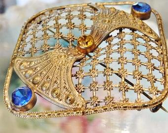 Antique Czech Brooch / Brass Filigree / Glass Rhinestones