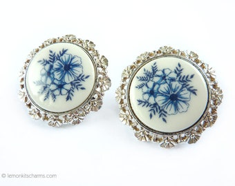 Vintage Blue White Flower Glass Earrings, Jewelry Clip On Style, Porcelain style, Silvertone Silver, 1970s Summer