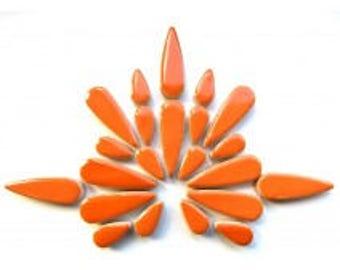 Teardrop Ceramic Tiles - Orange - 50g (approx. 30 pieces)