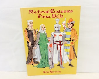 Medieval Costumes, Paper Dolls, Paper Dolls Set, 1990s Dover Book, 1996 Tom Tierney, Medieval Dress Up, Medieval Dresses and Clothing