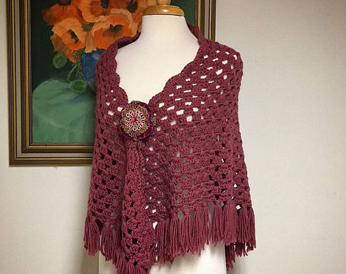 Vintage Crocheted Shawl with Tassels, Cape Poncho, Open Front, Dusty Rose Mauve, Brooch Not Included