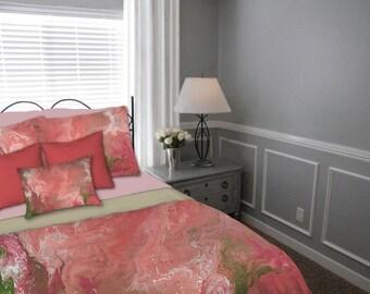 Duvet Cover, Coral peach green, Abstract art, Queen King Full Twin, Designer home decor, Artisan Bedding, Master Bedroom Contemporary Modern